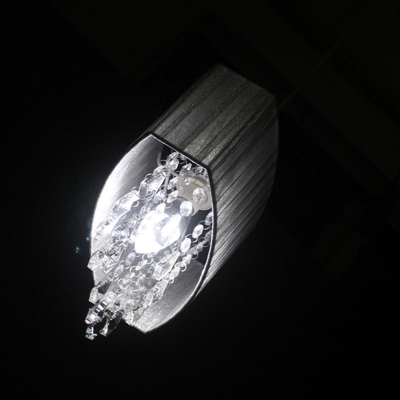 Modern oval k9 crystal Brushed fabric lampshade Pendant Lights E14 Led Lustre bedroom living room lamp fixture in Pendant Lights from Lights Lighting