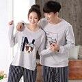 100% Cotton Couples Pajamas Sets Women's Long Sleeves Long Pants Sleepwear Men's Striped Pajamas XXXL