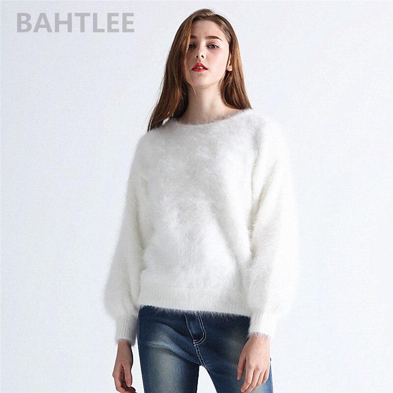 BAHTLEE Outono inverno coelho angorá malha capuz da camisola O-PESCOÇO manga lanterna das mulheres mink cashmere grossa manter aquecido