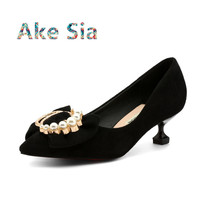 Ake Sia 2018 new fall winter diamond pearl women's shoes in the wild small size with shallow mouth single shoes red shoes s010