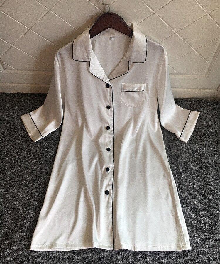 Women BF   Nightgowns   Sexy Long Sleeve Satin Sleepwear Pijama Silk Cute Nightwear Home Wear Nightdress   Nightgowns   &   Sleepshirts