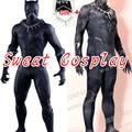 Alta calidad super hero traje negro pantera pantera negro spandex traje de cosplay para adultos con collar libre del regalo
