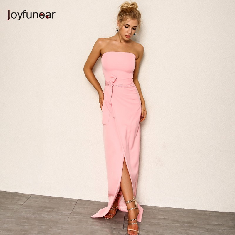 Joyfunear Chiffon Elegant High Split Party Dress 4DHM692