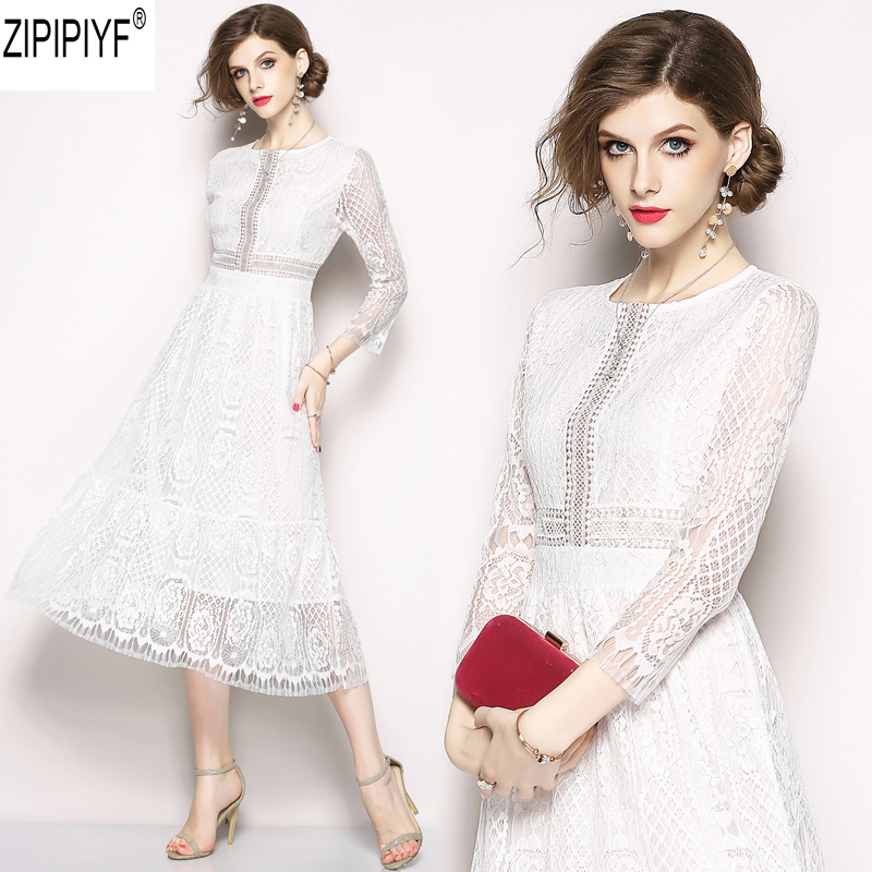 New Fashion Spring Women Long Sleeve Floral Lace Solid Color Stand Collar Elegant Slim High Waist Mid-Calf Dress Vestidos C1304