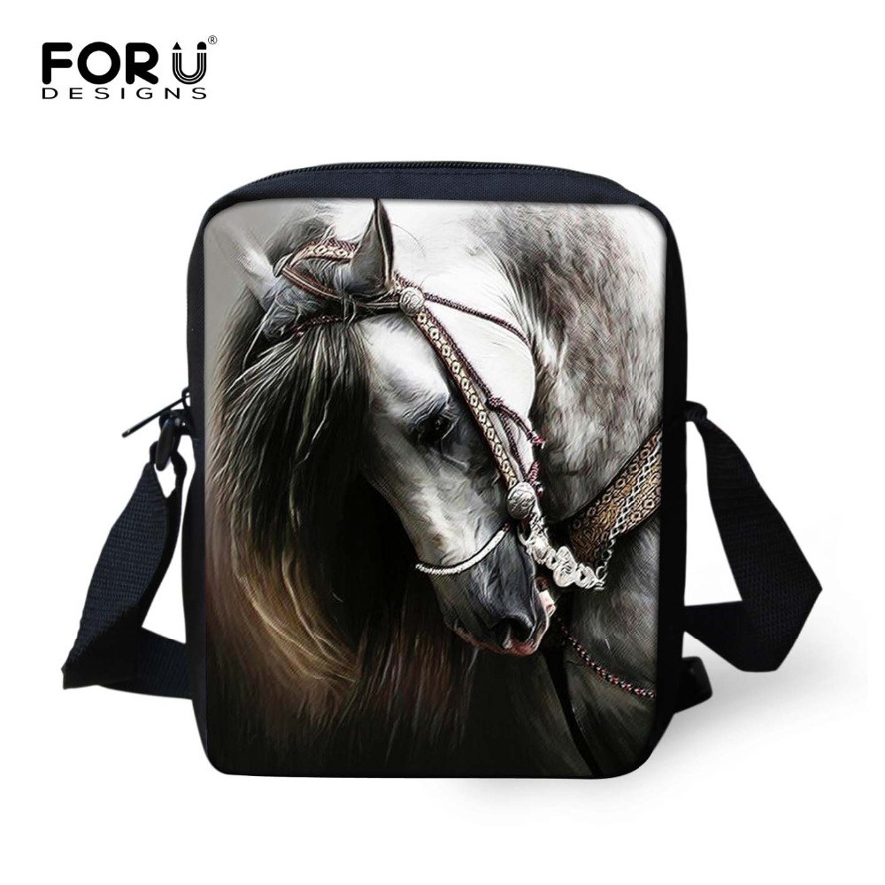 FORUDESIGNS Crazy 3D Horse Men Messenger Bags Children Kids Small Cross-body Bag For Boys Women Designer Mini Shoulder Flap Bags