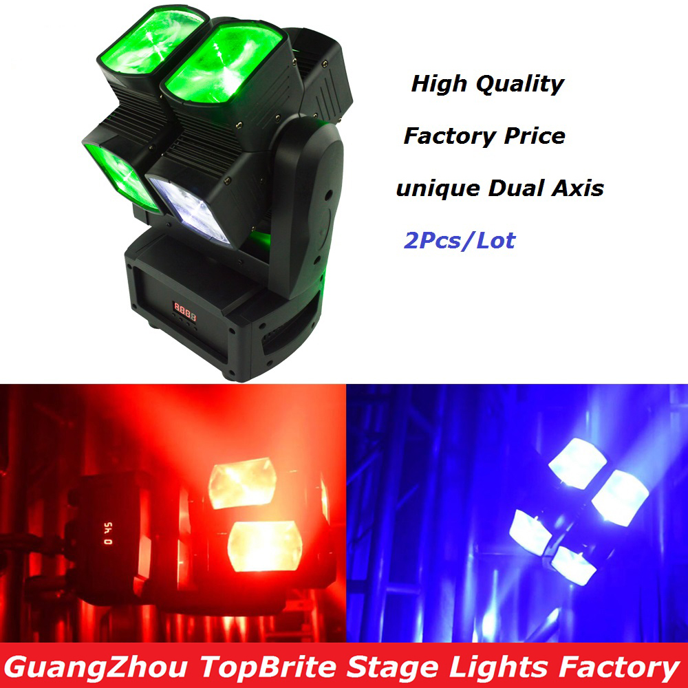 2XLot Free Shipping 8*12W RGBW 4IN1 Unique Dual Axis Moving Head Light For Stage Party Light High Quality Disco Effect Light