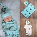 2016 Boy Girl Cervos Do Bebê Recém-nascido Macio Estiramento Envoltório Swaddle Swadding Cobertor Toalha de Banho Chapéu 2 pcs Bebes