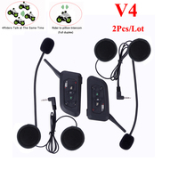 4 Riders BT Intercom V4 1200m Motorcycle Helmet Interfono Casco Bluetooth Interphone Headset For 4 Persons