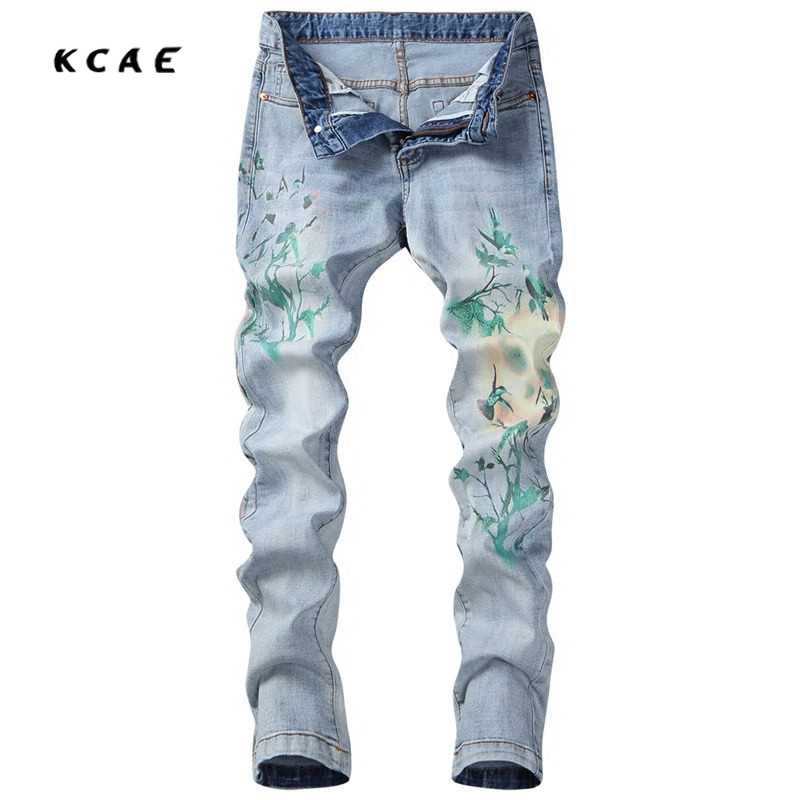 New Men's Fashion Light Blue Print Jeans Male Casual Slim Fit Denim Pants Long Trousers Free Shipping men s cowboy jeans fashion blue jeans pant men plus sizes regular slim fit denim jean pants male high quality brand jeans