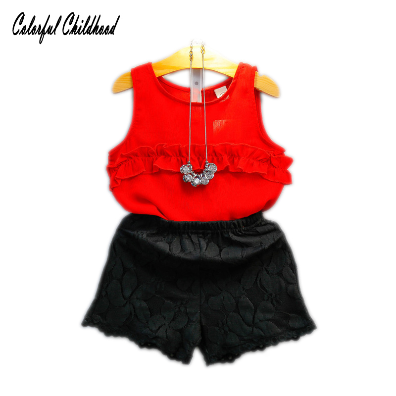 Children girls Clothing sets teenage summer overalls for girl clothes sets chiffon tops+lace shorts 2pc Suits for 2~7 years