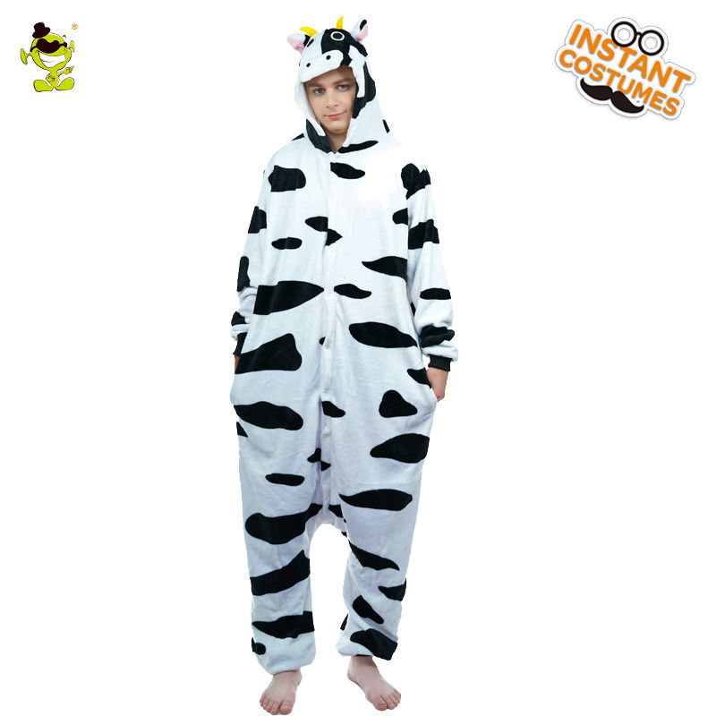Winter Milk Cow Pajamas Costume for Adult Costume Party Cosplay Men One Size Sleepwear Cute Cow Animal Jumpsuit