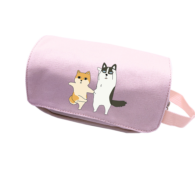 Shiba Inu Doge Kawaii Pencil Case Canvas Cosmetics Pouch Pink Makeup Bag Cartoon Travel Organizer Corgi Stationery Storage Bags