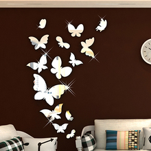 New arrival Mirror butterfly Acrylic three-dimensional mirror wall stickers Child room background romantic