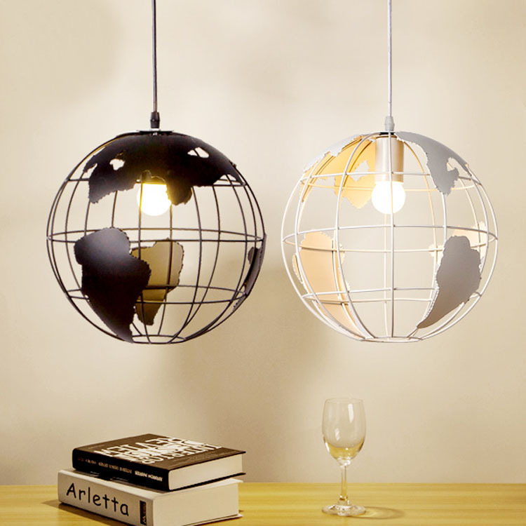 29cm Earth cage light loft industrial Pendant Light round shape Black White E27 Base Iron industrial foyer restaurant bar lamp