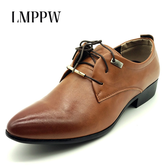 Fashion Pu Leather Men Flats Casual Shoes Big Size Men Moccasins Black Brown  Pointed Toe Lacing