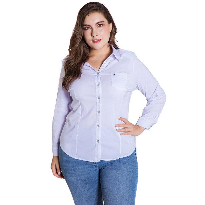 LALAIKAI Plus Size XL 2XL 3XL 4XL 5XL 6XL White Solid Blouse Women Full Sleeve Button Tops Slim Office Ladies Shirt SWA1540-47 2