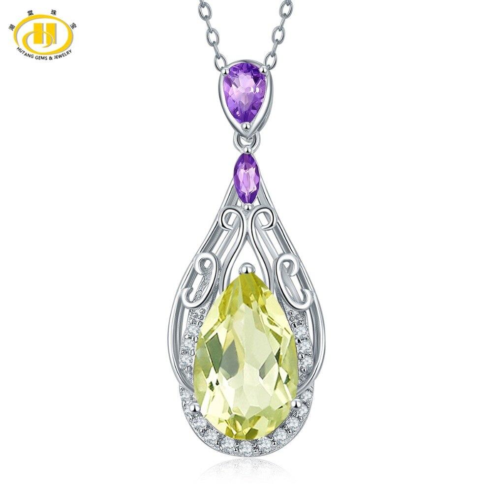 Hutang 6.53ct натуральный лимонный кварц и Аметист Твердые стерлингового серебра 925 Филигрань подвеска Цепочки и ожерелья Gemstone Fine Jewelry Для женщин