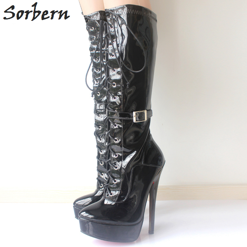 Sorbern Mid-Calf Women Boots Plus Size Spike Heels 18CM Ladies Party Shoes Pointed Toe Lace Up Unisex Dance Party Boots Sexy solid black winter spring women fringe decoration shoes slip on pointed toe spike high heels mid calf boots women free shipping