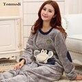 De las mujeres Pijamas de Invierno Engrosamiento Franela Caliente Carácter Pijamas ropa de Dormir Pijamas de Las Señoras de Las Mujeres Pijamas Salón Conjunto