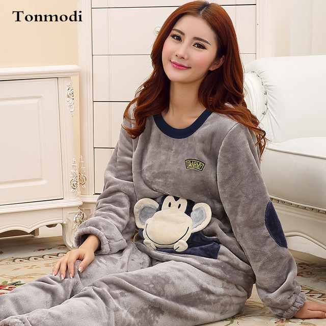 Women's Pajamas Winter Thickening Warm Flannel Pajamas Sleep ...