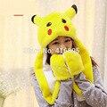 Pikachu Plush Faux Fur Full Hood Kids Hat Women Men Pokemon Costume Beanie with Long Scarf Mittens Gloves Earmuffs Fleece Hats