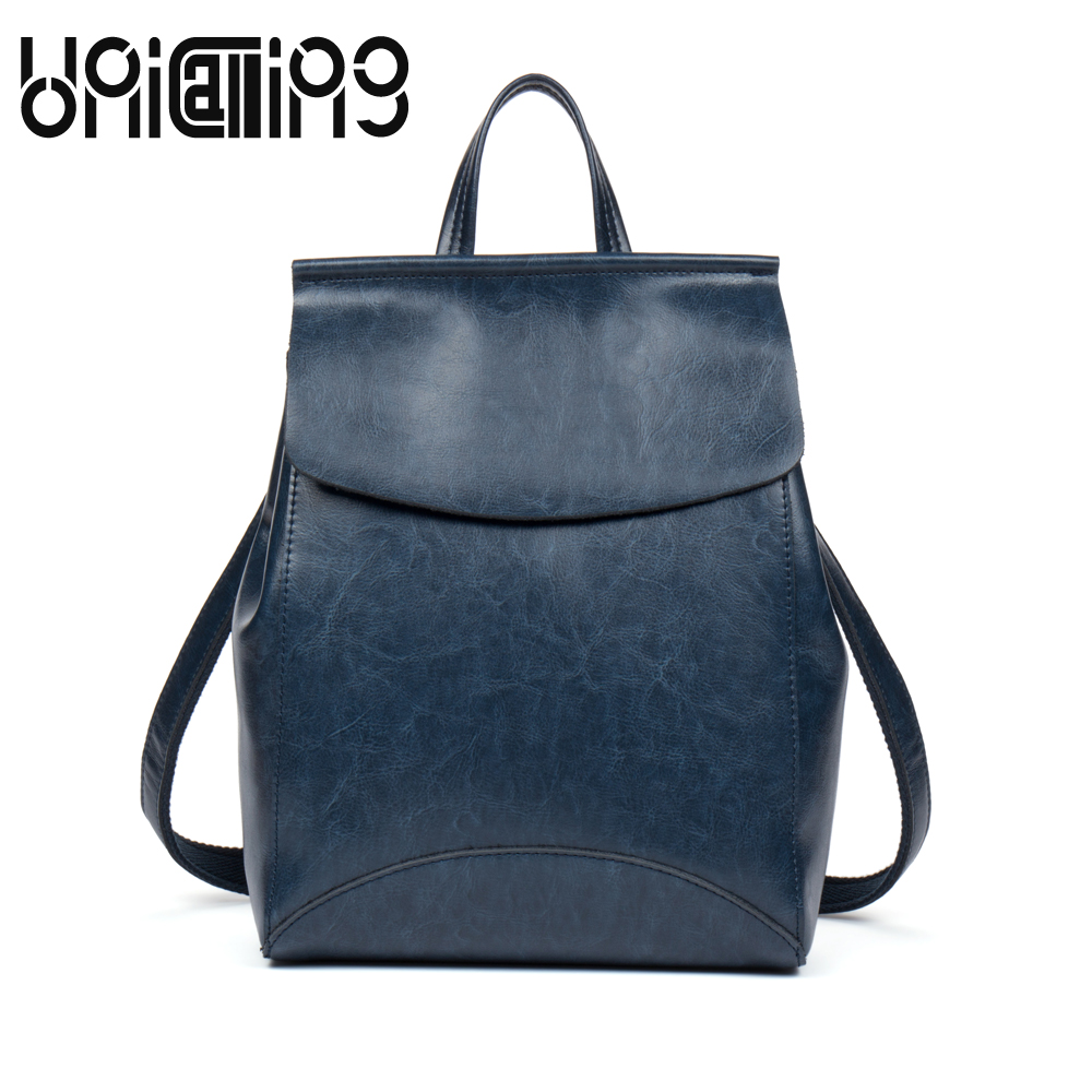 UniCalling New style Retro backpacks for teenage girls Fashion solid color backpack women Casual cow leather women backpack bat wing sleeves casual style acrylic solid color v neck sweater for women
