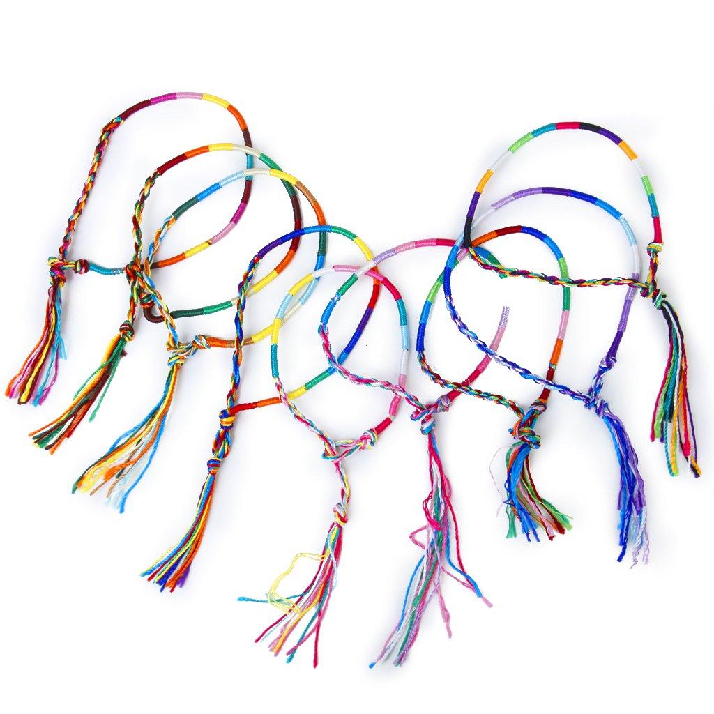 a31f0834f7f8 9 piezas estilo Hippie trenzado hilo amistad pulseras pulsera tobillo  pulsera Color aleatorio