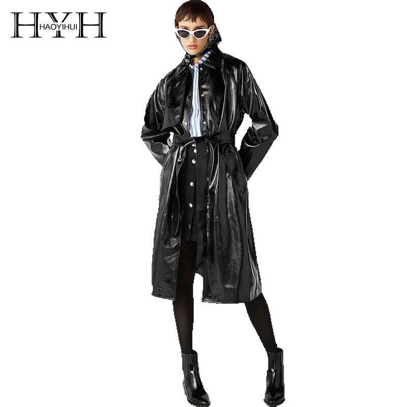 HYH Haoyihui mode Sexy Long manteaux nouveau Style délicat lier classique ceinture nouée Split cuir réfléchissant Trench manteau