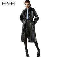 haoyihui Euramerican Fashion Sexy Comfortable New style Delicate Bind Classic waistband knotted split leather trench coat