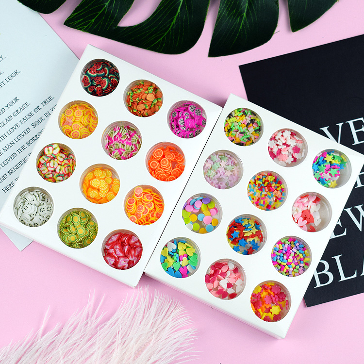 12 Type/Set Hand Diy Crystal Slime Supplies Fruit Flower Slices Nails Art Tips Box Accessories Decoration Toys For Kids