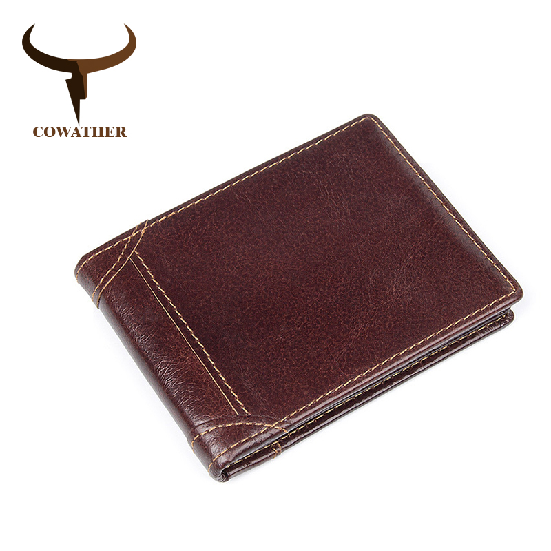 COWATHER top quality 100% cow genuine leather men wallets for men luxury dollar price short style male purse business men wallet cowather 100% top quality cow genuine leather men wallets fashion splice purse dollar price carteira masculina original brand