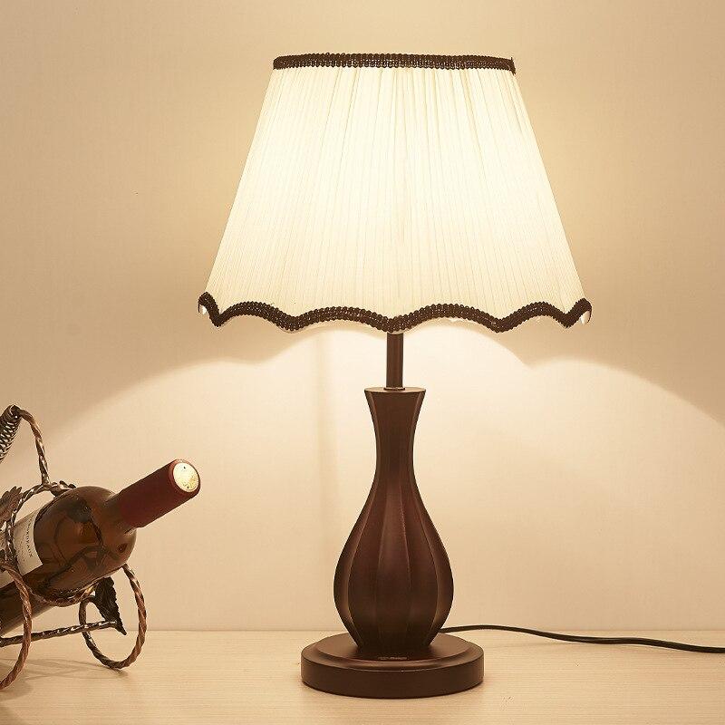 Американский страна деревянная настольная лампа Теплый спальня ночники китайском стиле Гостиная Исследование отель ретро декоративные на...
