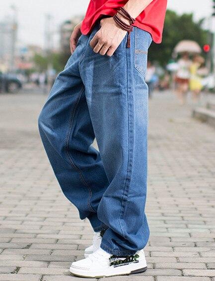 Men Baggy Hip Hop Jeans Light Blue Fashion Casual Pants Loose Fit Denim Trousers Big Size 40 42 44 46  tiger castle baggy men black jeans stretch classic cotton trousers men casual black denim loose lightweight pants size 40 42