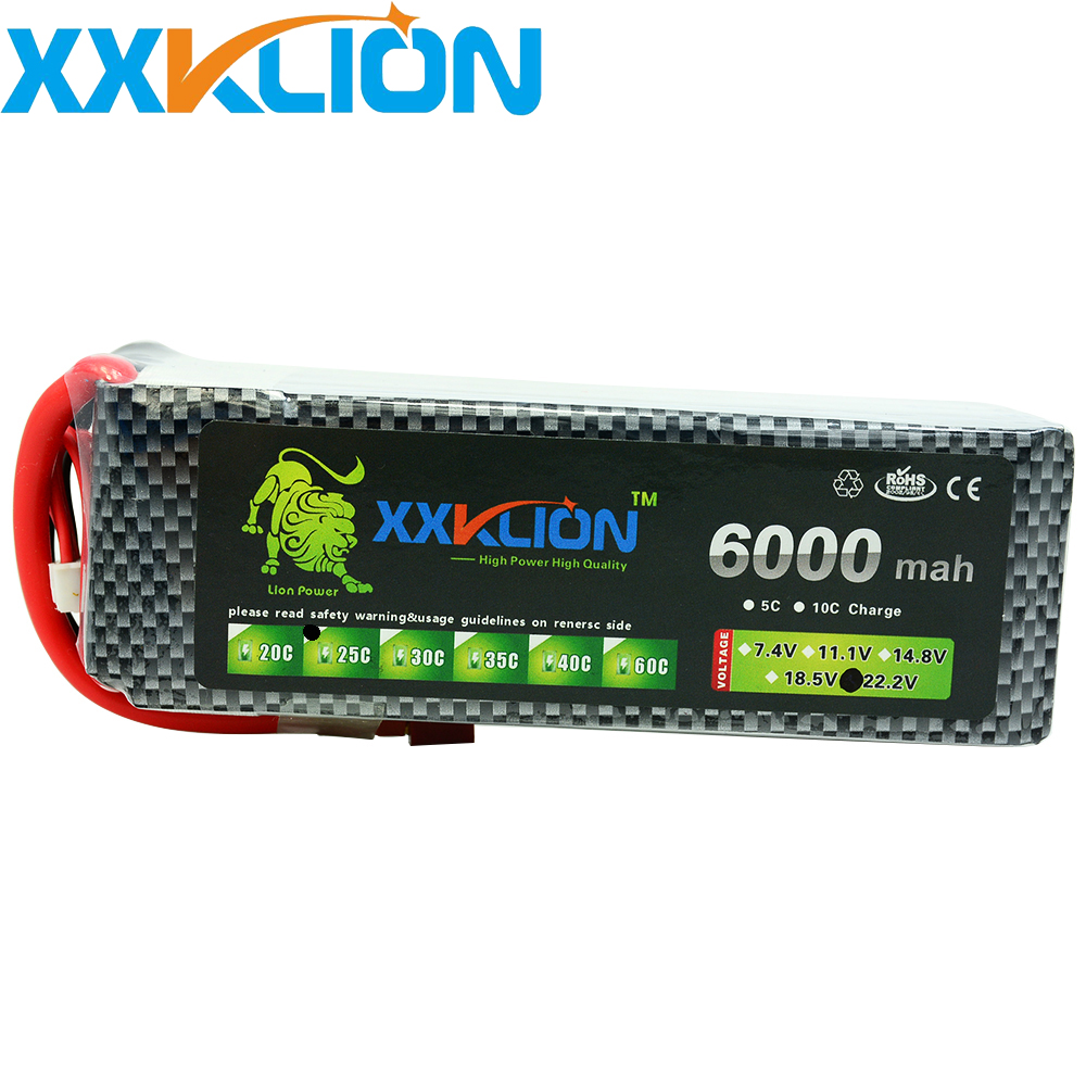 Hot Sale XXKLION  6S 22.2V 6000MAH 25C Rechargeable  for RC car RC boat  RC Lipo Drone Battery Pack FPV Quadcopter Free ShippingHot Sale XXKLION  6S 22.2V 6000MAH 25C Rechargeable  for RC car RC boat  RC Lipo Drone Battery Pack FPV Quadcopter Free Shipping