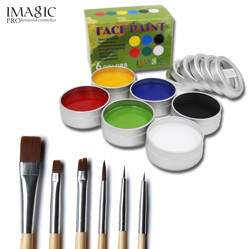 IMAGIC Body Painting Halloween 6 Colors+Brush Tattoo Face Body Fancy Dress Imagic Brand Body Paint Makeup Flash Temporary Tools imagic cosmetics body painting flash tattoo palette halloween painting skin wax professional makeup remover painting tools
