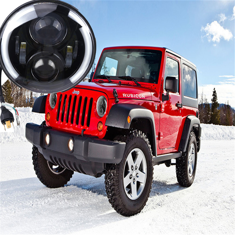 Round led 7'' inch headlight lens motorcycle Daymaker 7 inch head light angel eye DRL For Jeep Wrangler JK Hummer Harley