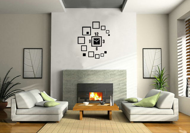 3D Decorative Mirrors Square Wall Clock Sticker Living Room Decal Wall  Stickers Clock Black Bedroom Wall Part 40