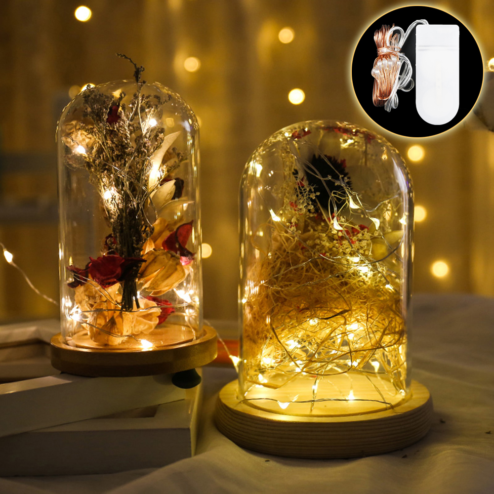 LED String Light Button Battery Operated Copper Wire Fairy Garland Lights Christmas Wedding Party Decoration 1m 2m 3m 5m IQ