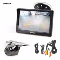 DIYSECUR 5 Inch TFT LCD Display Car Monitor with Waterproof Night Vision Security Metal Car Rear View Camera