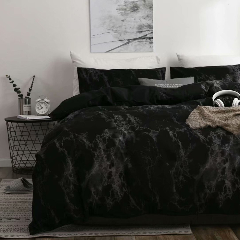 Marble Luxury Bedding Set Russia Euro Queen Double King Size Duvet Cover Set 2/6PCS Family Black Bed Set No Filler Home Textile