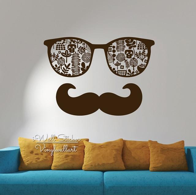 Glass Mustache Wall Sticker Modern Mustache Glass Wall Decal DIY ...