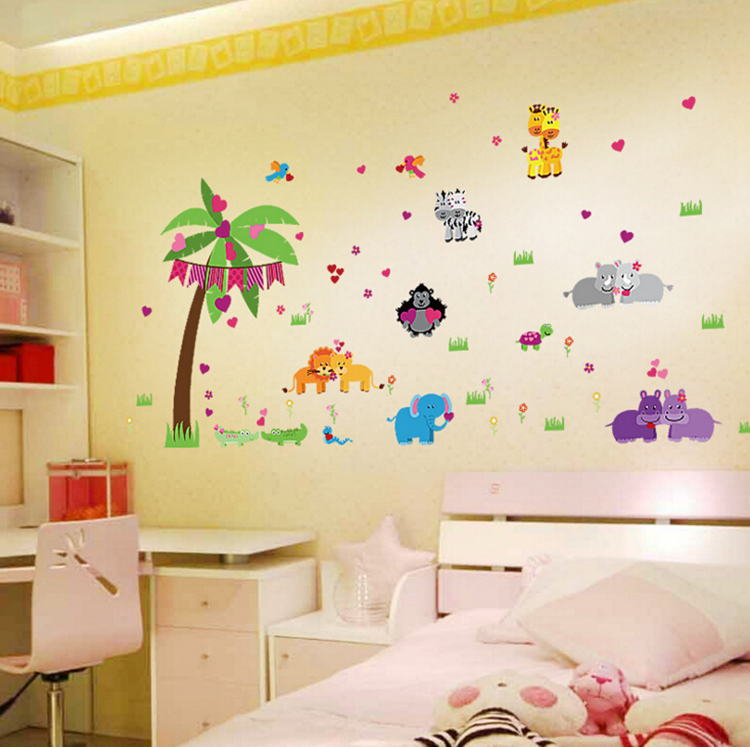 Cartoon love animals xl wall stickers kids room decor nursery diy ...
