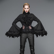Devil Fashion Victorian Palace Women Blouse Gothic Steampunk Trumpet Sleeve Tie Shirts Black White Witch Blouse Top Shirt
