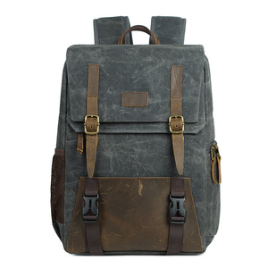 Image 4 - Careell 3059 Leather Camera Bag Backpacks Large Capacity for 15.6 inch Laptop Carry Bag For Digital Video Camera Travel Bag