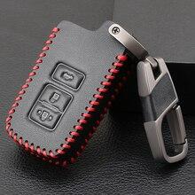 3 כפתור עור מפתח Fob מעטפת כיסוי מקרה עבור טויוטה קאמרי קורולה Avalon Rav4 לנד קרוזר רכב מרחוק מפתח בעל מגן