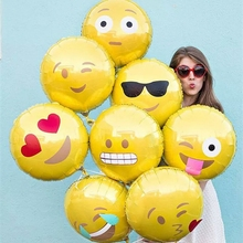 10pcs/lot 18inch Emoji Foil Balloons cool/love/kiss/naughty expression Helium Balloon 45*45cm Birthday Party Supplies Kids Gifts