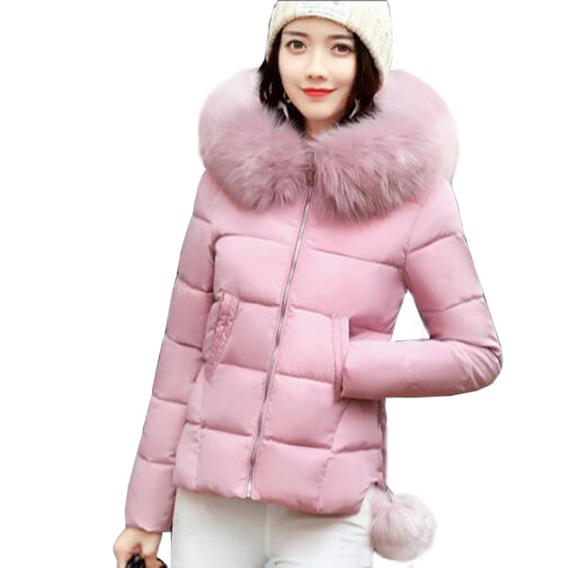 Winter Fashion Women Jackets Short Design Cute Cotton Padded Pink Coats Causual Warm collar Hooded Loose Padded Parkas QH0409 aporia as original design women autumn winter fashion novelty slim rivets floral 3d print patchwork short cotton padded jackets