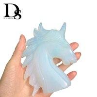 5 Opal Unicorn White Jade Figurine Crystal Skull Argenon Crafts Quartz Stones Minerals Gelite Horse Specimen Healing Gifts