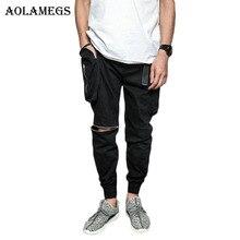 Aolamegs Cargo Pants Men Multi Pockets Pants knee Zipper Track Pants Trousers Mens Elastic Waist Joggers Sweatpants Brand Autumn