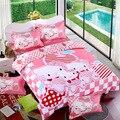 Хлопок Постельное белье Мультфильм Hello Kitty 4 шт. Набор Кровать Пододеяльник Простыня Наволочки Мягкие и Удобные король королева размер